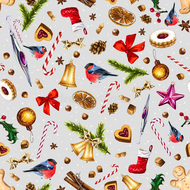 Festive seamless pattern with winter holiday attributes on gray background with white snow dots. vector illustration