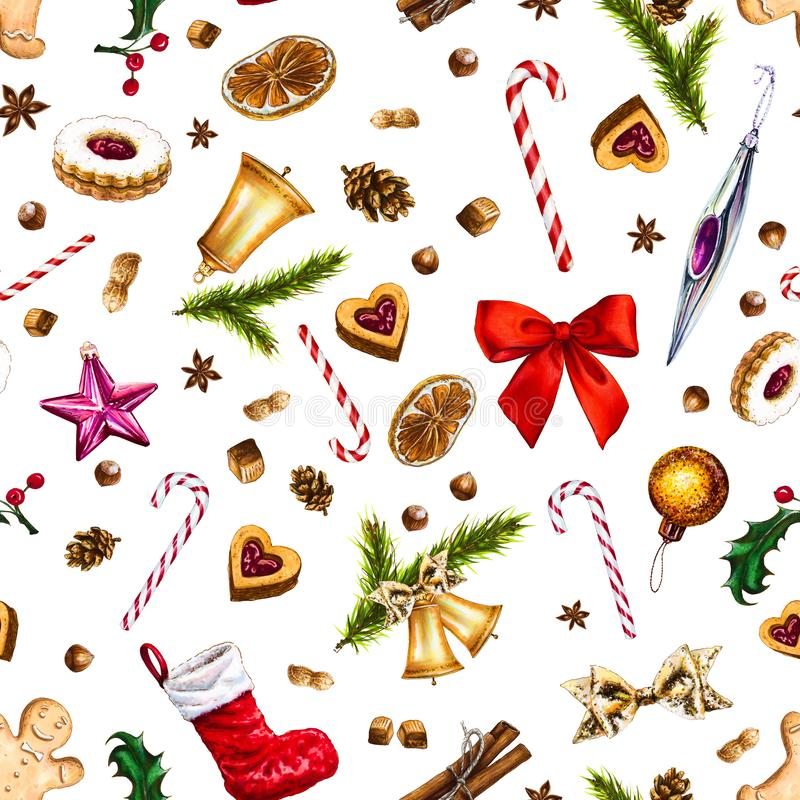 Festive seamless pattern with winter holiday attributes on white background. stock illustration