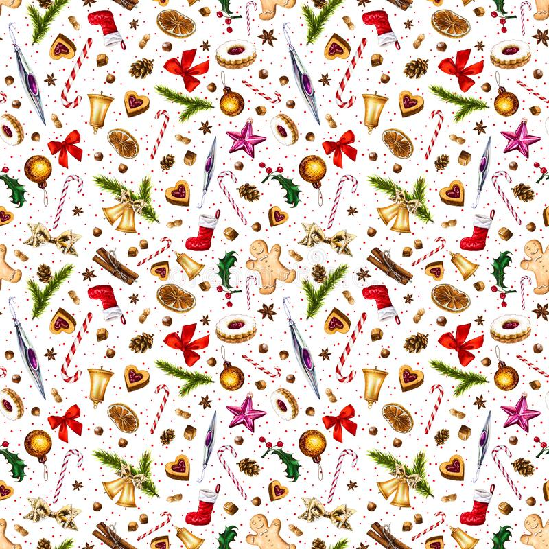 Festive seamless pattern with winter holiday attributes on white background with red dots. stock illustration