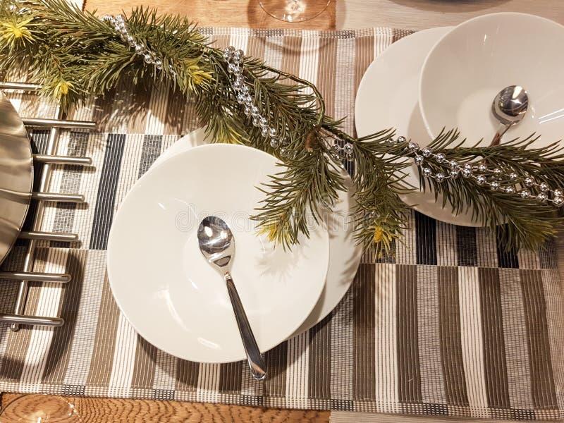 Festive season table settings royalty free stock image