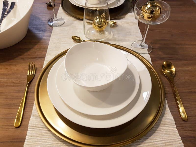 Festive season table settings royalty free stock photo
