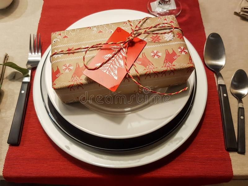 Festive season table settings stock photography
