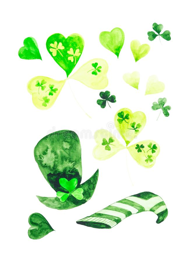 Festive set of clover leaves, leprechaun hat, striped sock and green hearts for St. Patrick`s day. Watercolor illustration. Isolated on white background stock images