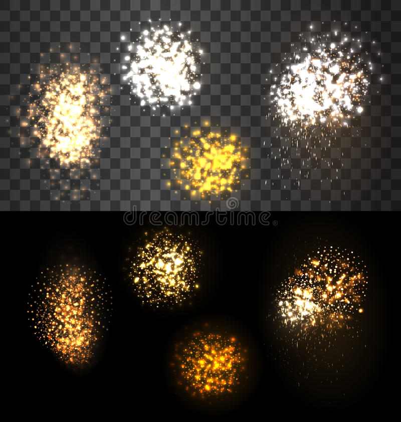 Festive set firework bursting various shapes vector illustration