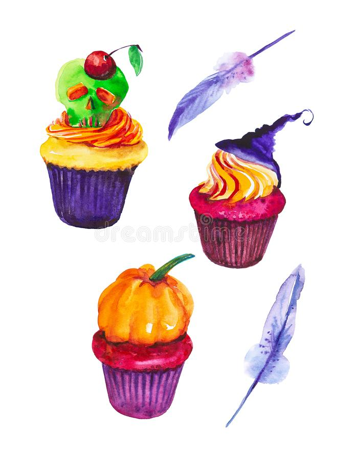 Festive set for Halloween, cake with skull and cherry, cake with pumpkin and hat, feather.Watercolor illustration isolated on royalty free illustration