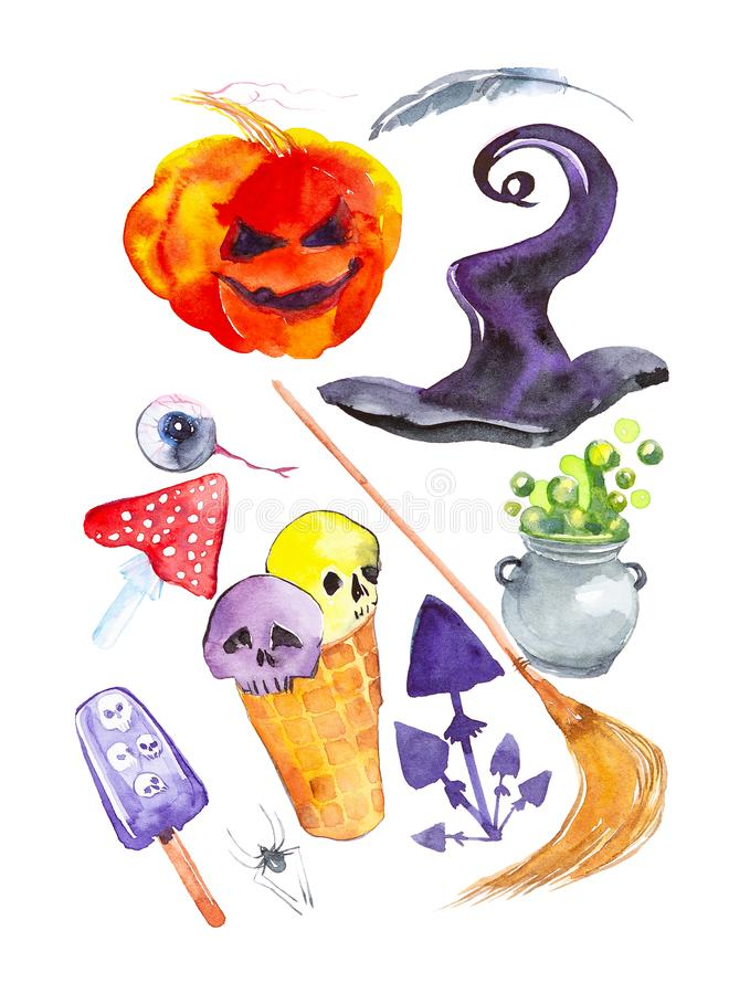 Festive set for Halloween, pumpkin, hat, feather, eye, fly agaric, broom, toadstools, ice cream with skulls, pot with potion. Watercolor illustration isolated royalty free illustration