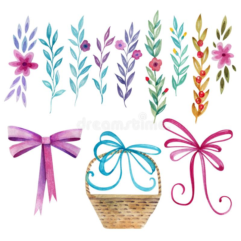Festive set for your design. Plants, flowers, wicker basket and three bows. Watercolor drawing stock illustration