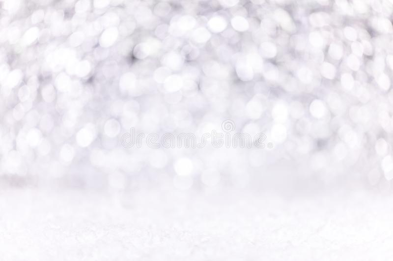 Festive silver and white Background with snow, concept silvester or Christmas stock image