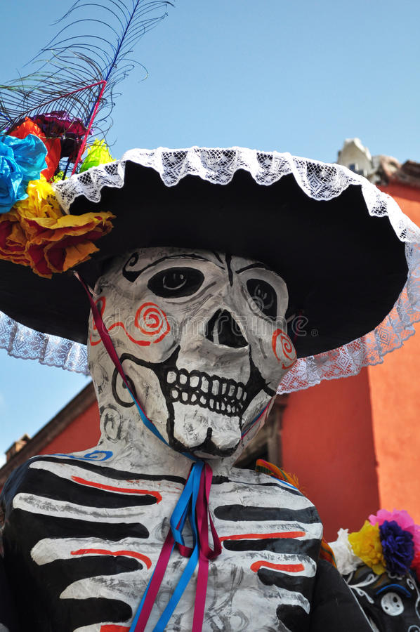 Festive skeleton Mariachi - mexican day of the death stock images