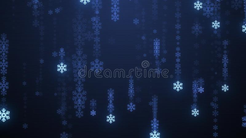 Festive snowflake snowfall tv screen Rain illustration background new quality shape universal glamour colorful joyful. Holiday music stock image vector illustration