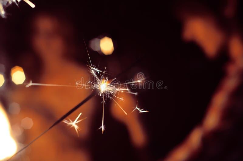 Festive sparklers burn royalty free stock image