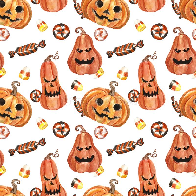 Festive spooky Halloween pattern with scary pumpkins, candy corn, swirl candy, isolated on white background. vector illustration