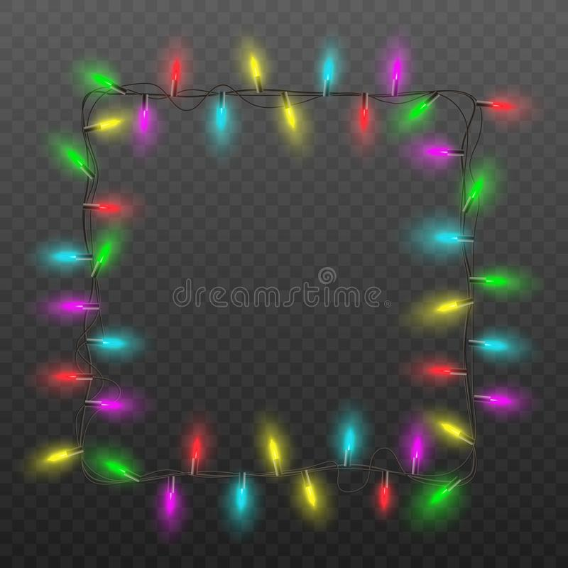 Festive square frame of Christmas lights garland with colorful light bulbs stock illustration