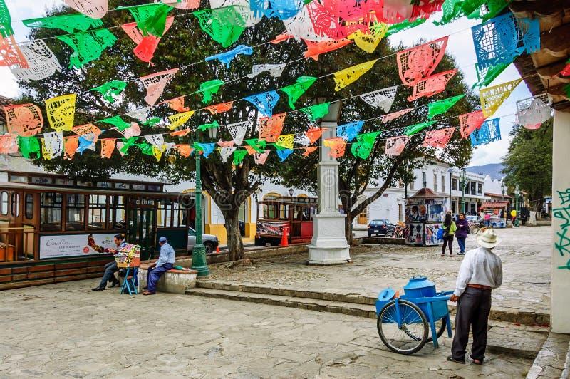 Festive street scene in San Cristobal de las Casas, Mexico. San Cristobal de las Casas, Mexico - March 25, 2015: Festive street scene in San Cristobal de las royalty free stock photography