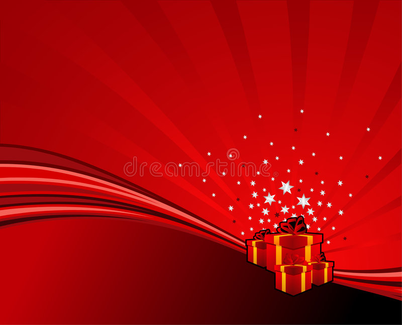 Festive swoosh. Festive gifts on red abstract swoosh background. Vector illustration royalty free illustration