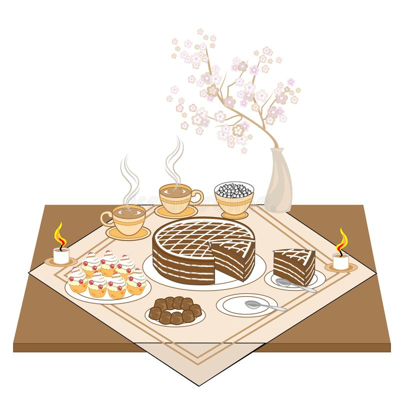A festive table with candles and a chocolate cake. Hot tea or coffee, sweets, muffins - an exquisite treat for every taste. Delicate sakura flowers create a royalty free illustration