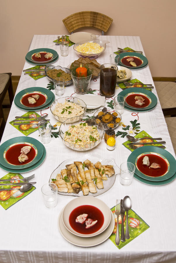 Festive table for Christmas . Food prepared for the Christmas feast stock photo