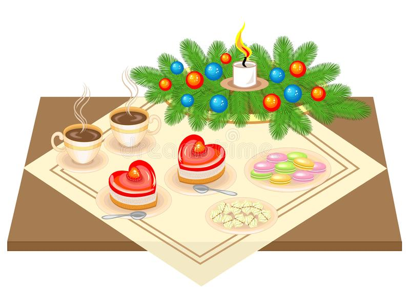 Festive table. Christmas bouquet from the Christmas tree. Delicious heart-shaped cake and tea or coffee. Candle gives a romantic vector illustration
