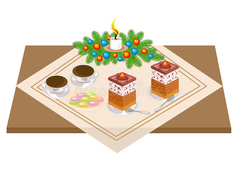 Festive table. Delicious cake and tea, coffe. A Christmas bouquet from a Christmas tree and a candle gives a romantic mood. Vector. Illustration vector illustration
