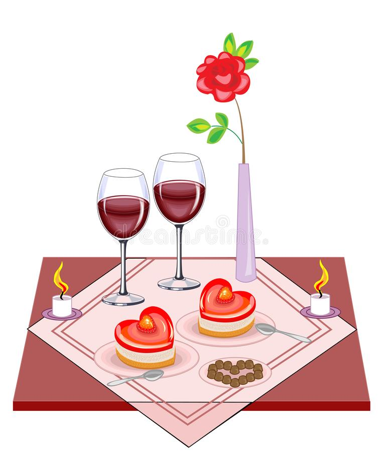 Festive table for lovers. Valentine s Day. A delicious heart-shaped cake, two glasses of wine of frost. Candles give a romantic. Mood of love. Vector vector illustration