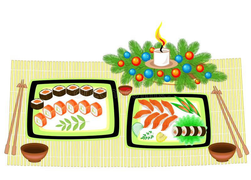 Festive table. New Year bouquet from a Christmas tree and a candle. Refined dishes of Japanese national cuisine, seafood, sushi, vector illustration