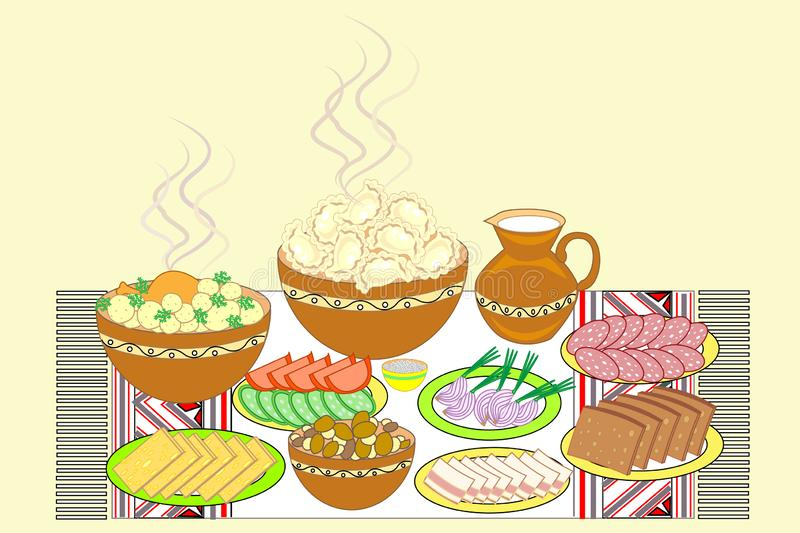 Festive table set. Ukrainian national dishes dumplings, bread, lard, meat, vegetables. Tasty dishes are placed on an embroidered stock illustration