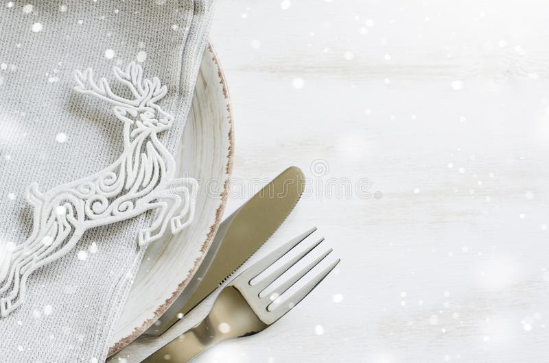 Festive Table Setting for Christmas Eve. stock images
