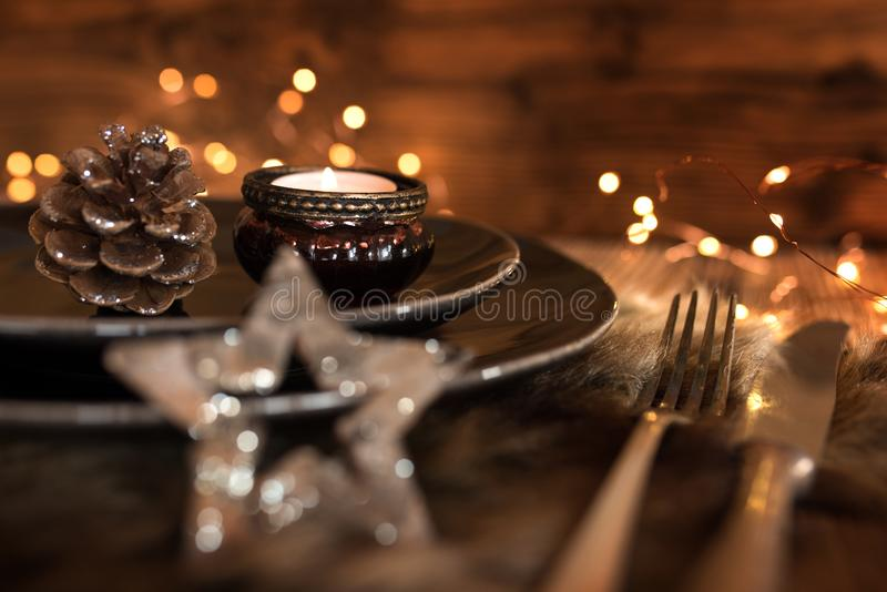 Festive table setting for a christmas dinner stock photo