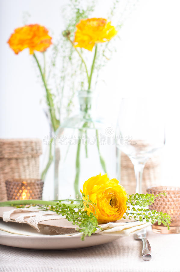 Download Festive Table Setting With Flowers Stock Photo - Image: 24298278