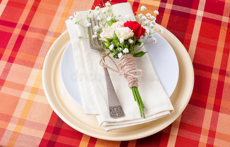 Download Festive Table Setting With Flowers And Vintage Crockery Stock Photo - Image: 28791572