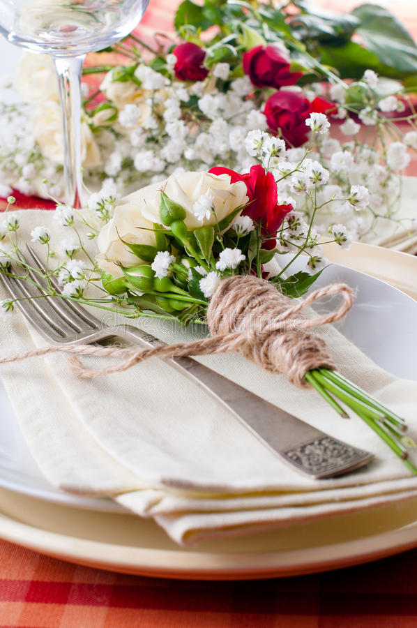 Download Festive Table Setting With Flowers And Vintage Crockery, Closeup Stock Photo - Image: 28791910