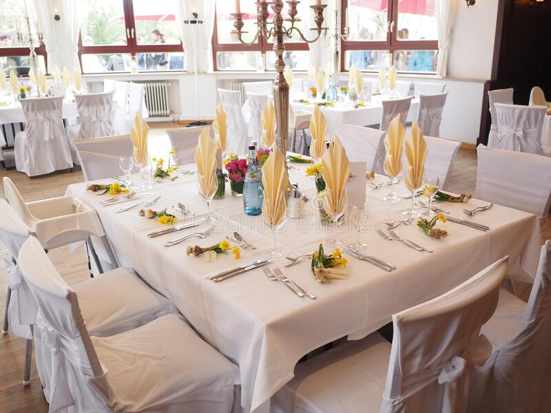 Festive table setting stock images