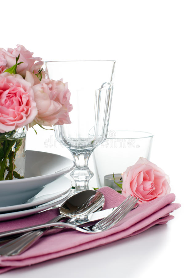 Download Festive Table Setting With Pink Roses Stock Image - Image: 34257597