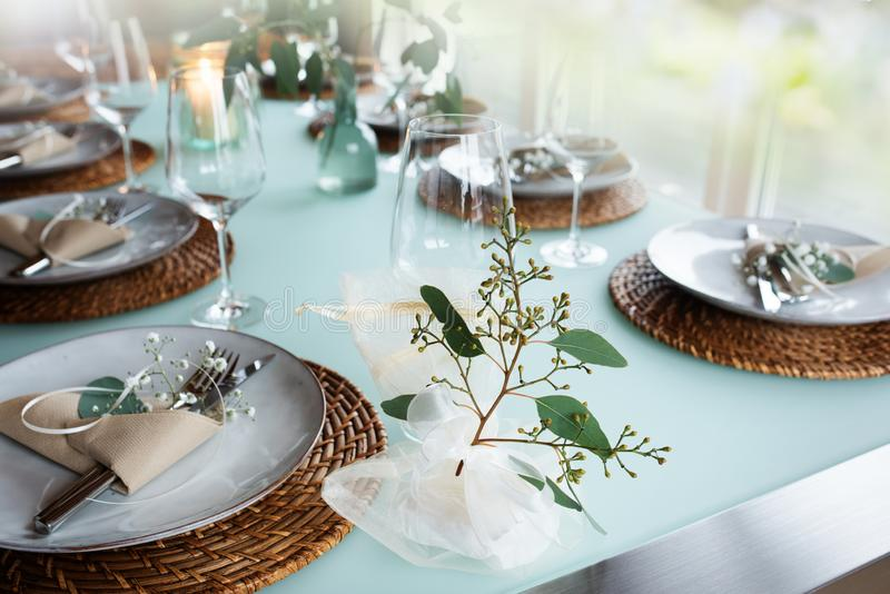 Festive event table decoration stock images
