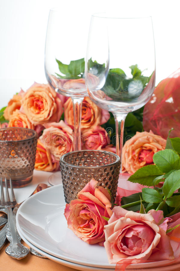 Download Festive Table Setting With Roses Stock Image - Image: 26033847