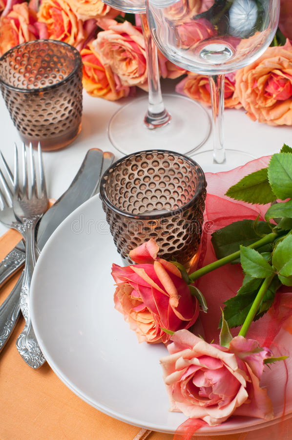 Download Festive Table Setting With Roses Stock Image - Image: 26033881