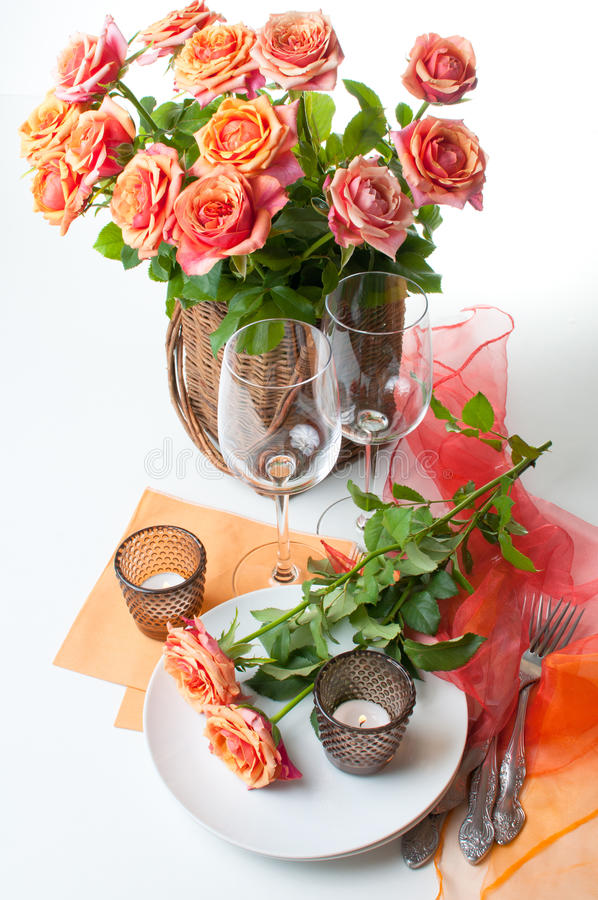 Download Festive Table Setting With Roses Stock Photo - Image of elegant, meal: 26034172