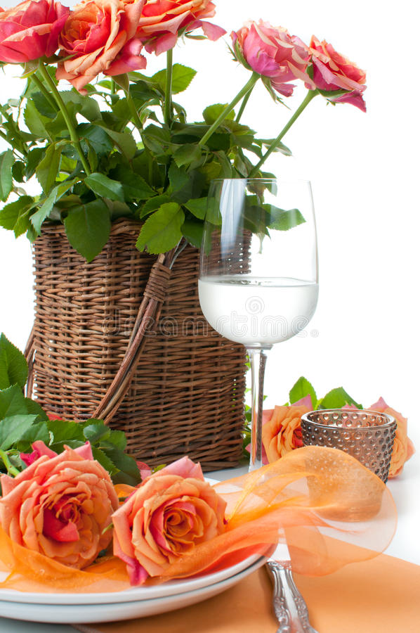 Download Festive Table Setting With Roses Stock Image - Image: 26034421