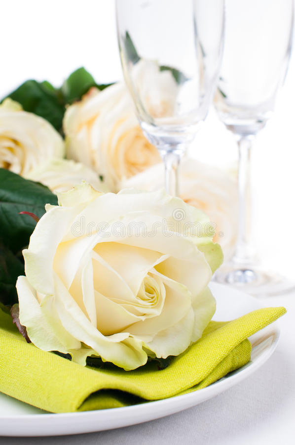 Download Festive Table Setting With Roses Stock Image - Image: 27839763