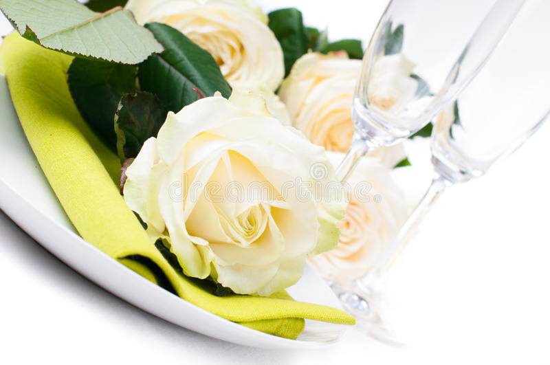 Download Festive Table Setting With Roses Stock Photo - Image: 27839796
