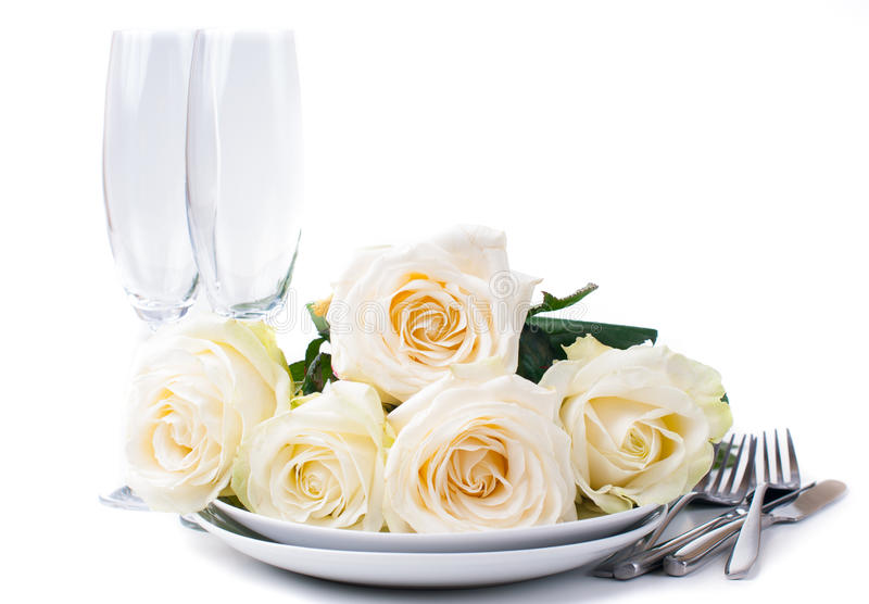 Download Festive Table Setting With Roses Stock Photo - Image: 27839880