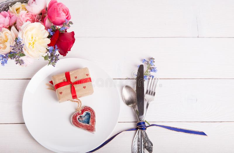 Download Festive Table Setting For Valentine`s Day With Fork Knife And Hearts On  sc 1 st  Dreamstime.com & Festive Table Setting For Valentine`s Day With Fork Knife And ...