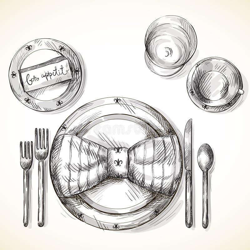 Festive table setting royalty free illustration