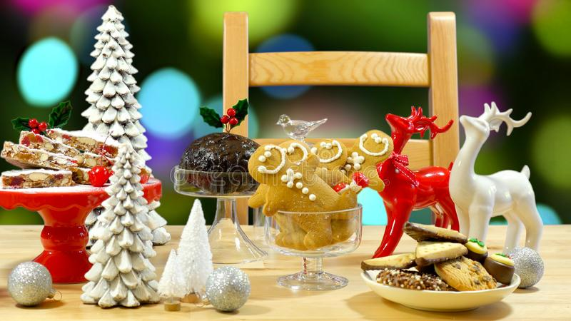 Festive table with traditional English and European style Christmas food. Festive table with traditional English and European style Christmas food including stock photo