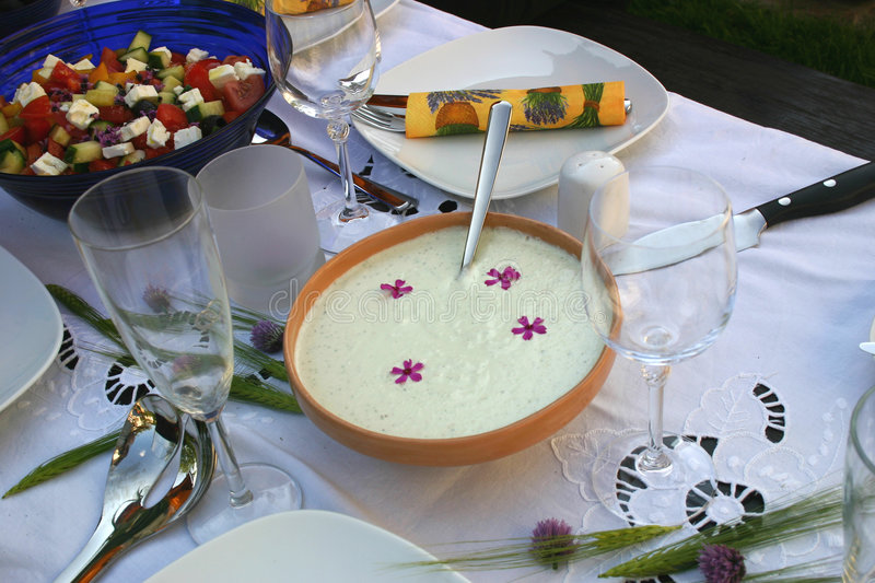 Festive table with tzatziki royalty free stock photography