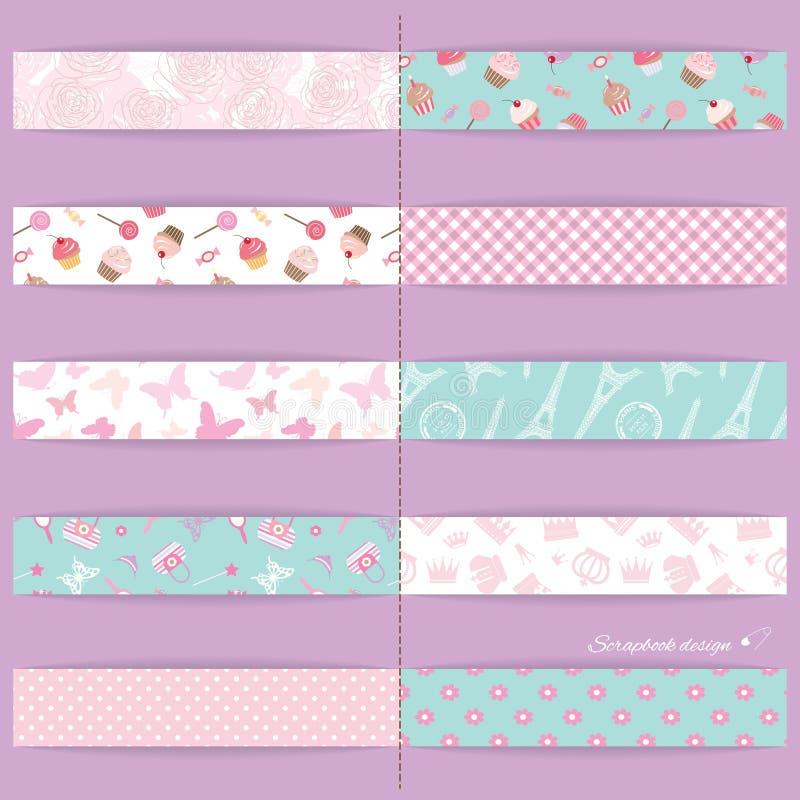 Festive textile ribbons set. stock illustration