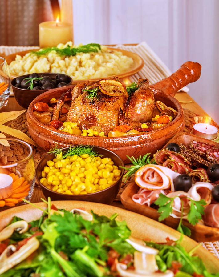 Festive Thanksgiving table royalty free stock photography