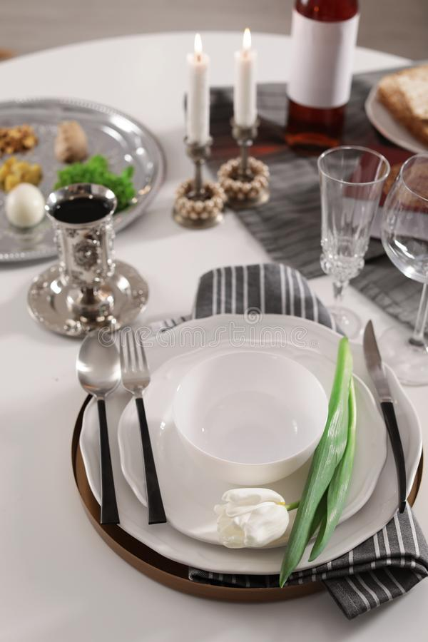 Festive traditional Passover table setting. stock photos