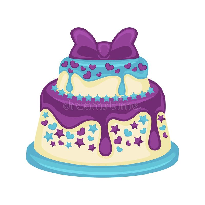 Festive two-tier cake with beautiful purple bow on white. Background. Sweet dessert with glaze streaks, small hearts and stars on blue substrate. Vector vector illustration