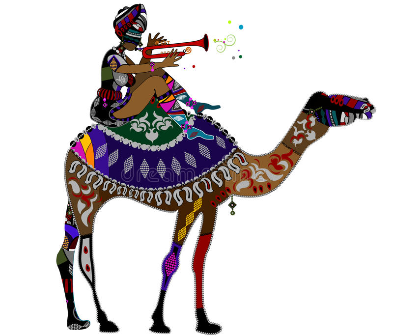 Festive Walk. Woman in ethnic style sits on the back of a camel stock illustration